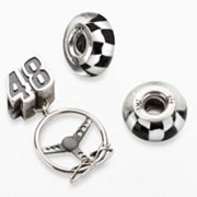 Insignia Collection NASCAR Jimmie Johnson Sterling Silver '48' Steering Wheel Charm & Bead Set