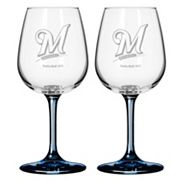 Milwaukee Brewers 2 pc Wine Glass Set