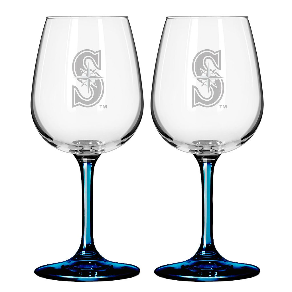 Seattle Mariners 2-pc. Wine Glass Set