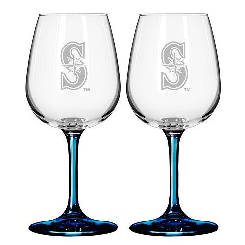 Seattle Mariners 2-pc. Wine Glass Set