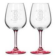 Boston Red Sox 2 pc Wine Glass Set