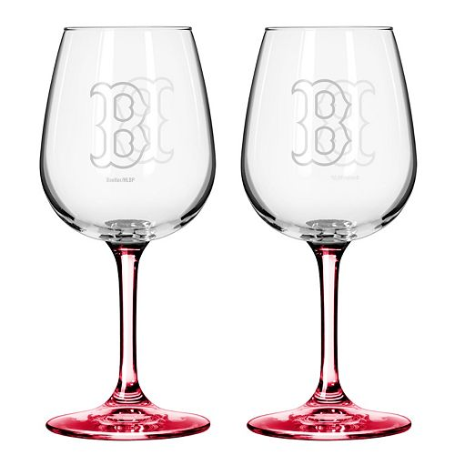 Boston Red Sox 2-Piece Wine Glass Set