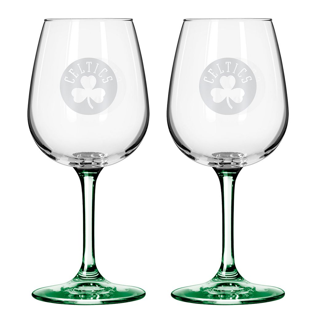 Boston Celtics 2-pc. Wine Glass Set