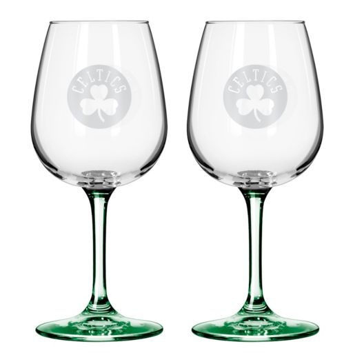 Boston Celtics 2-pc. Wine Glass Set