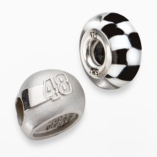 "Insignia Collection NASCAR Jimmie Johnson Sterling Silver ""48"" Helmet Bead Set"