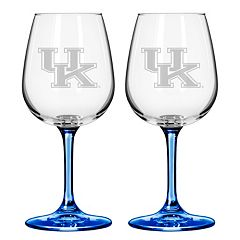 Kentucky Wildcats 2 pc Wine Glass Set