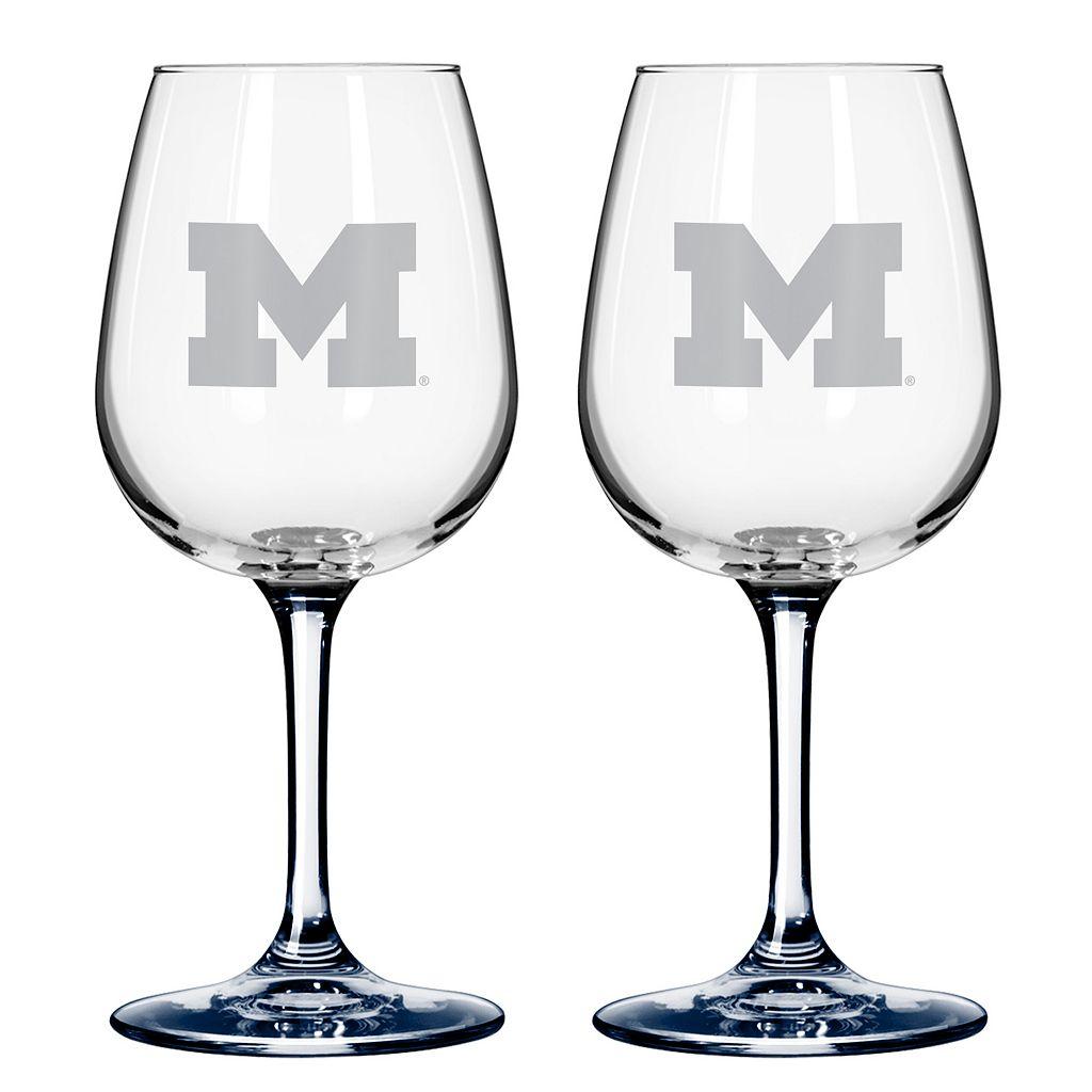 Michigan Wolverines 2-pc. Wine Glass Set