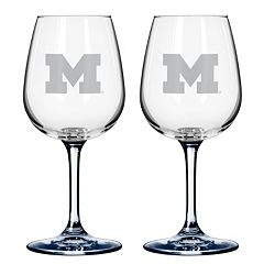 Michigan Wolverines 2-pc. Wine Glass Set