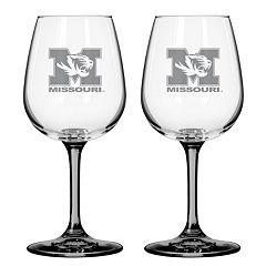 Missouri Tigers 2 pc Wine Glass Set