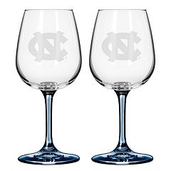 North Carolina Tar Heels 2 pc Wine Glass Set
