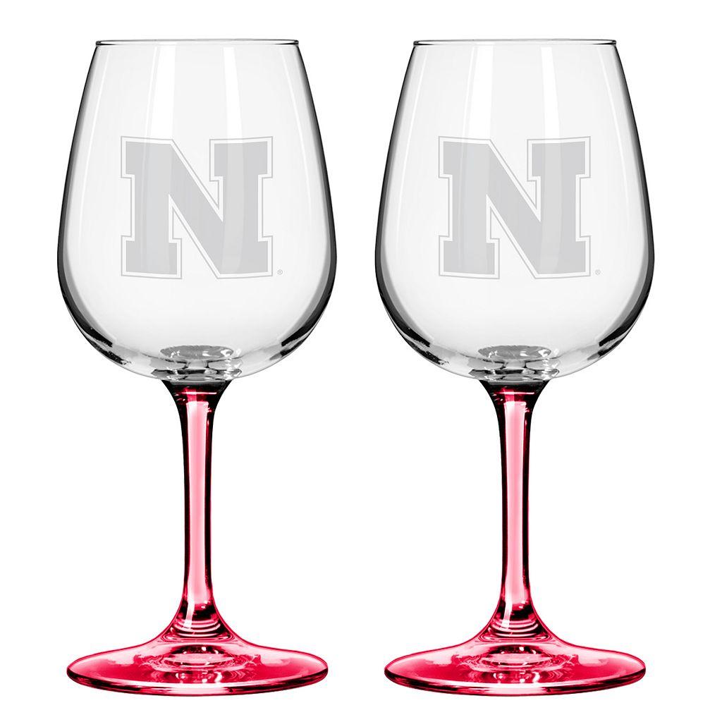 Nebraska Cornhuskers 2-pc. Wine Glass Set
