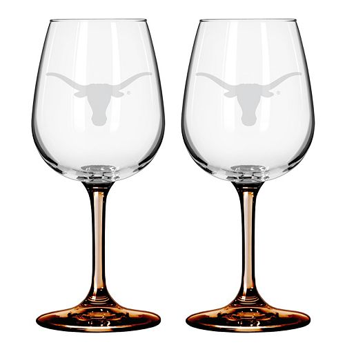 Texas Longhorns 2-pc. Wine Glass Set