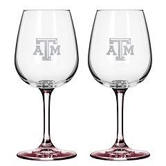 Texas A&M Aggies 2 pc Wine Glass Set