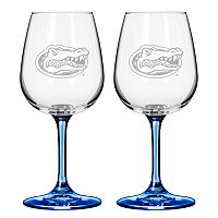 Florida Gators 2 pc Wine Glass Set