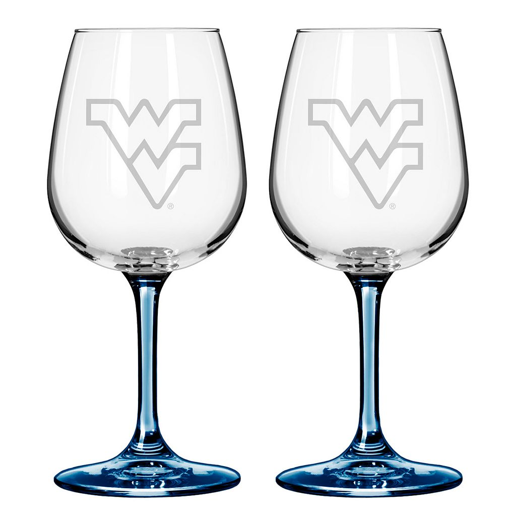 West Virginia Mountaineers 2-pc. Wine Glass Set