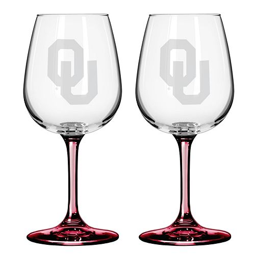 Oklahoma Sooners 2-pc. Wine Glass Set