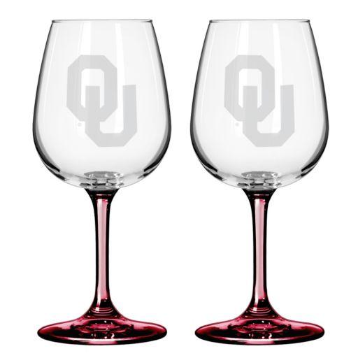 Oklahoma Sooners 2-pc. Wine Glass Set