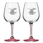 Washington State Cougars 2 pc Wine Glass Set