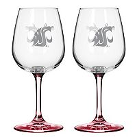 Washington State Cougars 2 pc Wine Glass Set
