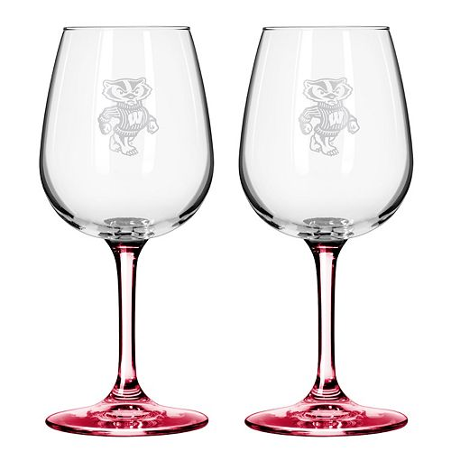Wisconsin Badgers 2-pc. Wine Glass Set
