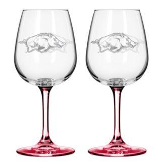 Arkansas Razorbacks 2-pc. Wine Glass Set