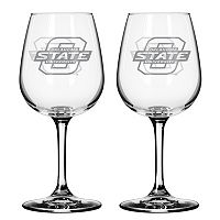 Oklahoma State Cowboys 2 pc Wine Glass Set