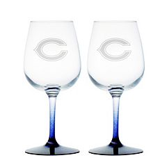 Chicago Bears 2 pc Wine Glass Set
