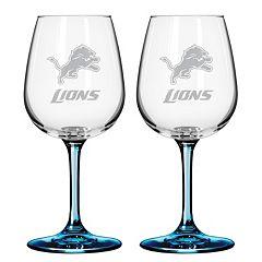 Detroit Lions 2 pc Wine Glass Set