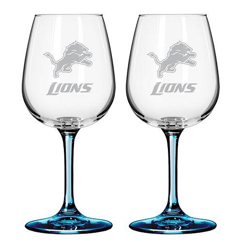 Detroit Lions 2-pc. Wine Glass Set