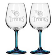 Tennessee Titans 2 pc Wine Glass Set