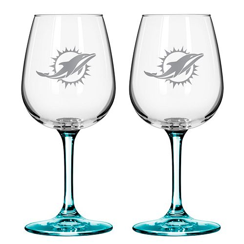 Miami Dolphins 2-pc. Wine Glass Set