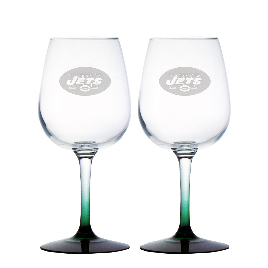 New York Jets 2-pc. Wine Glass Set
