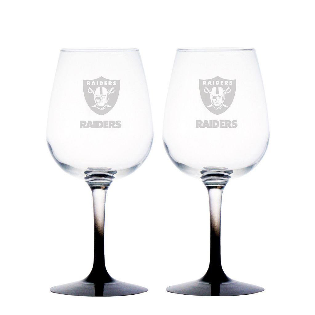 Oakland Raiders 2-pc. Wine Glass Set