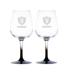 Oakland Raiders 2-pc. Wine Glass Set