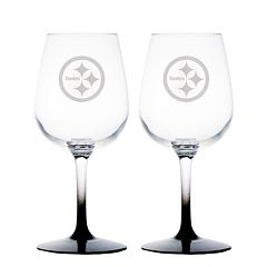Pittsburgh Steelers 2 pc Wine Glass Set