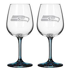 Seattle Seahawks 2-pc. Wine Glass Set
