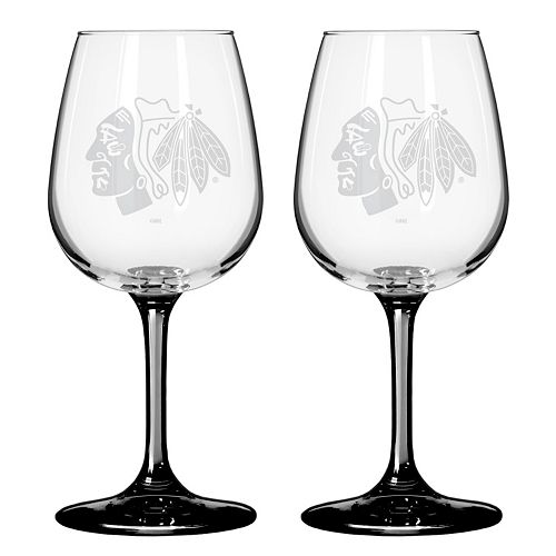 Chicago Blackhawks 2-pc. Wine Glass Set