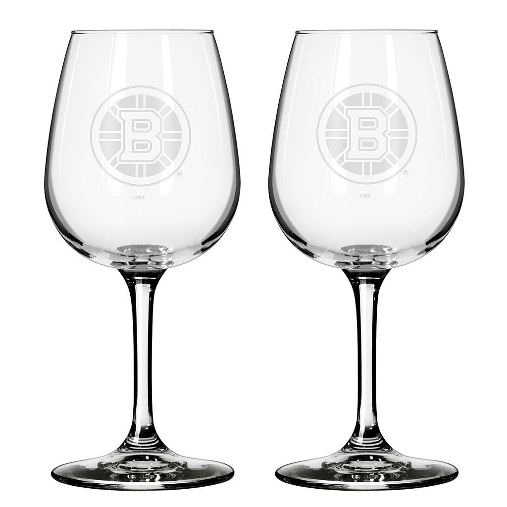 Boston Bruins 2-pc. Wine Glass Set