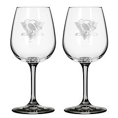 Pittsburgh Penguins 2 pc Wine Glass Set