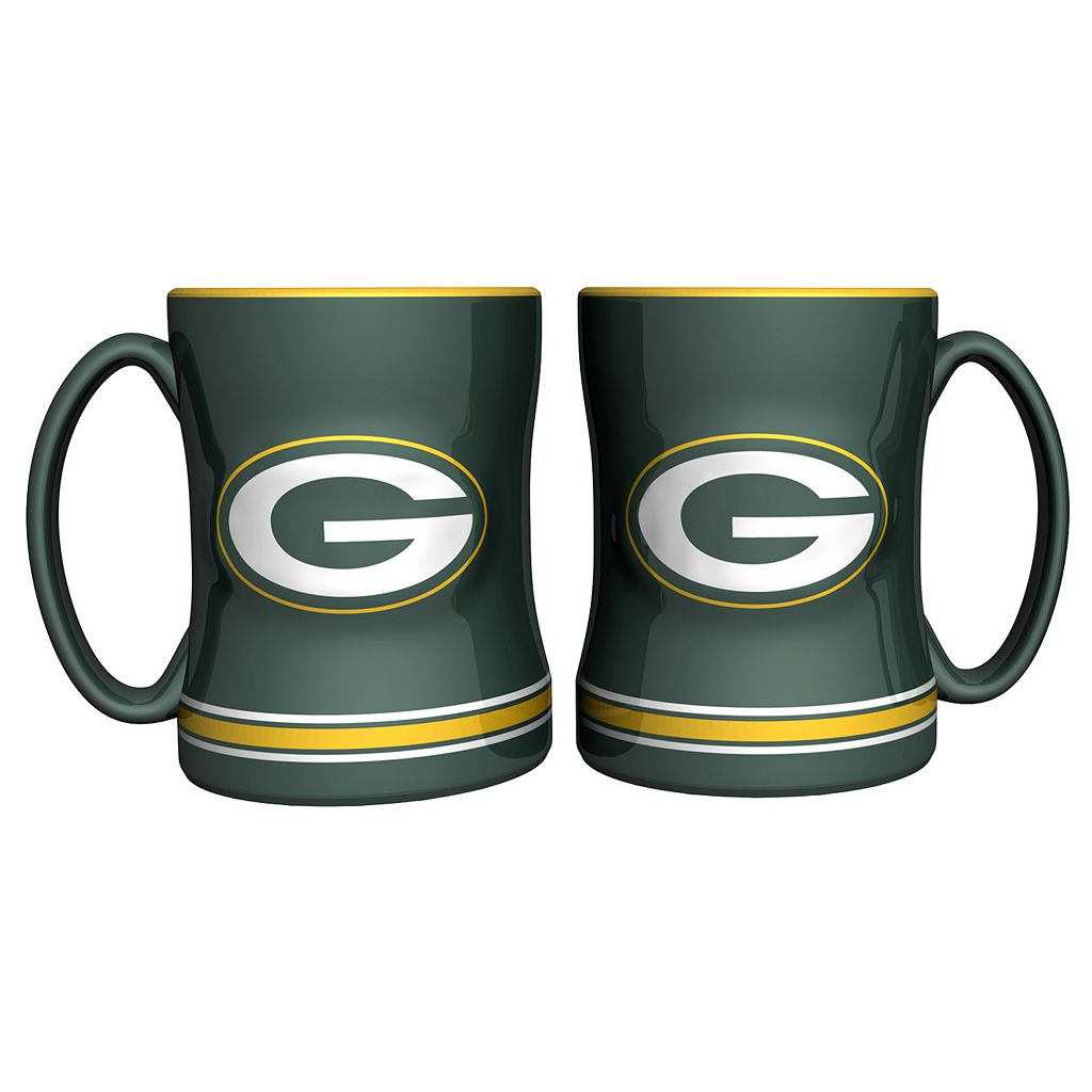 Green Bay Packers 2-pc. Relief Coffee Mug Set