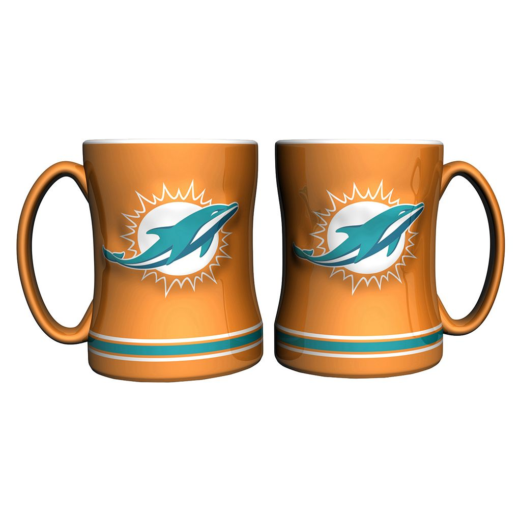 Miami Dolphins 2-pc. Relief Coffee Mug Set