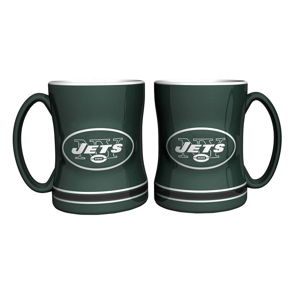 New York Jets 2-pc. Relief Coffee Mug Set