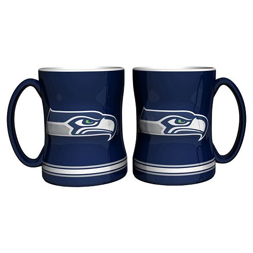 Seattle Seahawks 2-pc. Relief Coffee Mug Set