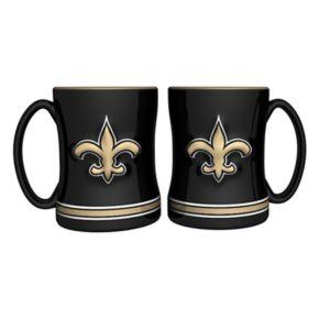 New Orleans Saints 2-pc. Relief Coffee Mug Set