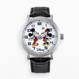 Disney's Mickey & Minnie Mouse Men's Leather Watch