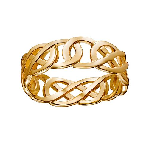 14k Gold Over Silver Openwork Celtic Knot Wedding Band