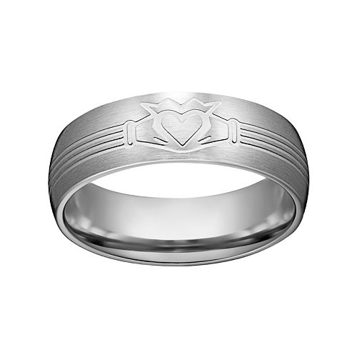 Stainless Steel Claddagh Wedding Band - Men