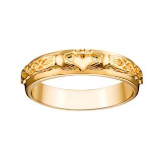 14k Gold Over Silver Claddagh Wedding Band