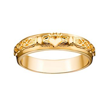 14k Gold Over Silver Claddagh Wedding Band