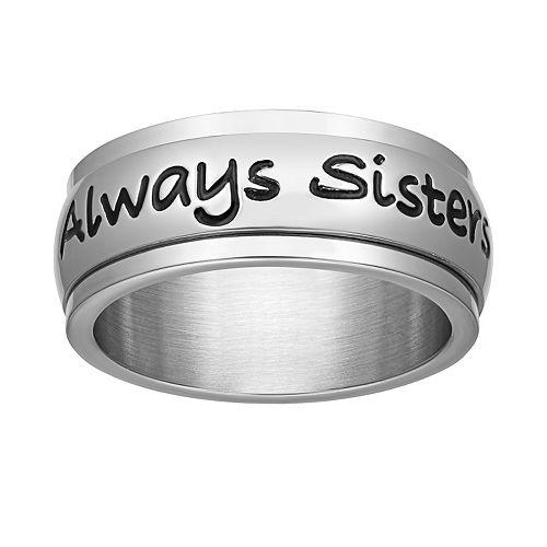 "Stainless Steel ""Always Sisters Forever Friends"" Spinner Ring"